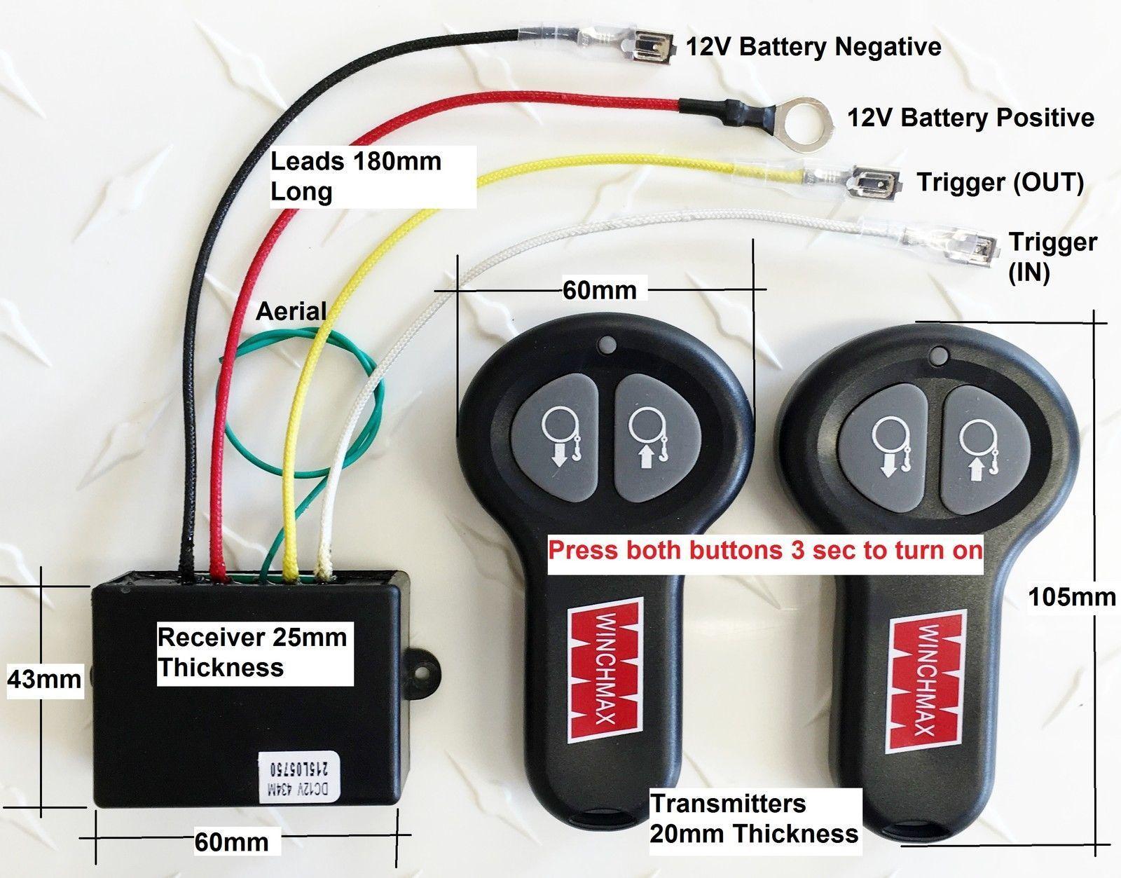 wireless winch remote control twin handset winchmax brand 12v 12 rh ebay co uk Light Switch Wiring Diagram winchmax 13500 wiring diagram