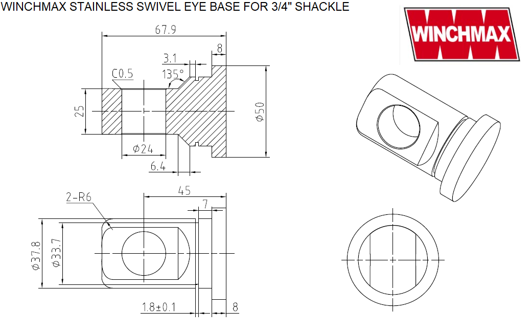 Bumper swivel eye base dimensions