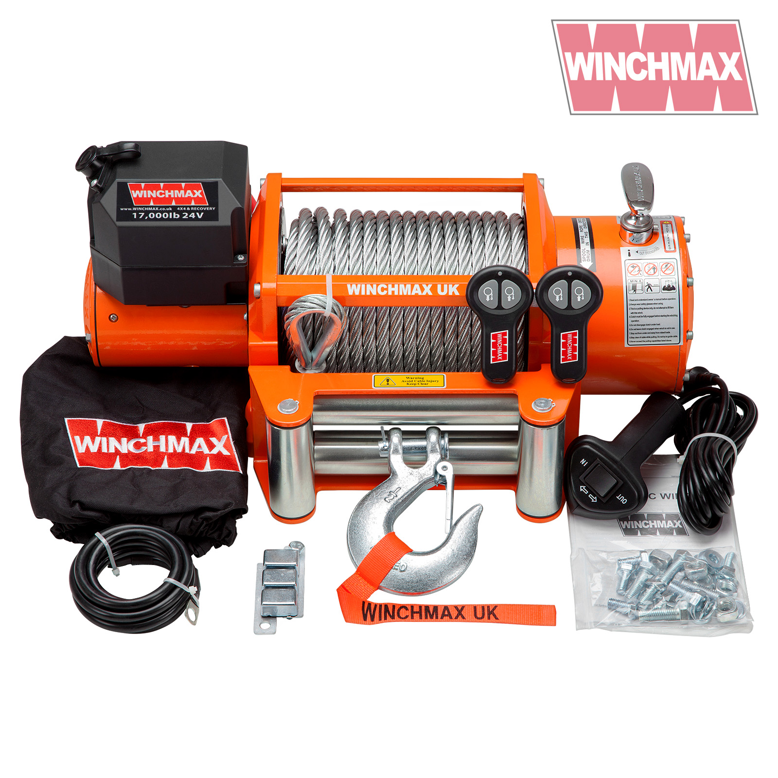 Details about ELECTRIC WINCH 24V RECOVERY 4x4 17000 lb WINCHMAX ORIGINAL  ORANGE WINCH REMOTE